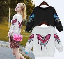 sudaderas mujer 2016 Autumn Winter Women Casual butterfly embroidery Sweatshirts Long Sleeve shirt women Plus Size 4XL 5XL tops(China (Mainland))