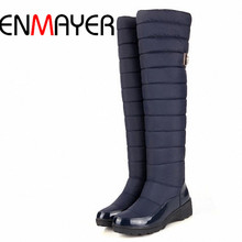 ENMAYER Knee-High Boots Wedges Med Round Toe Warm Winter Boots for Women  Snow Boots Platform Long Boots Girls Shoes Women New(China (Mainland))