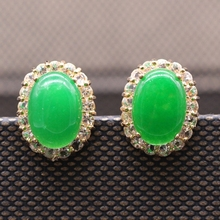 Classic  Style JINYAO Jewelry Oval Malaysian jade&AAA CZ 18k Gold Plated Earrings(China (Mainland))