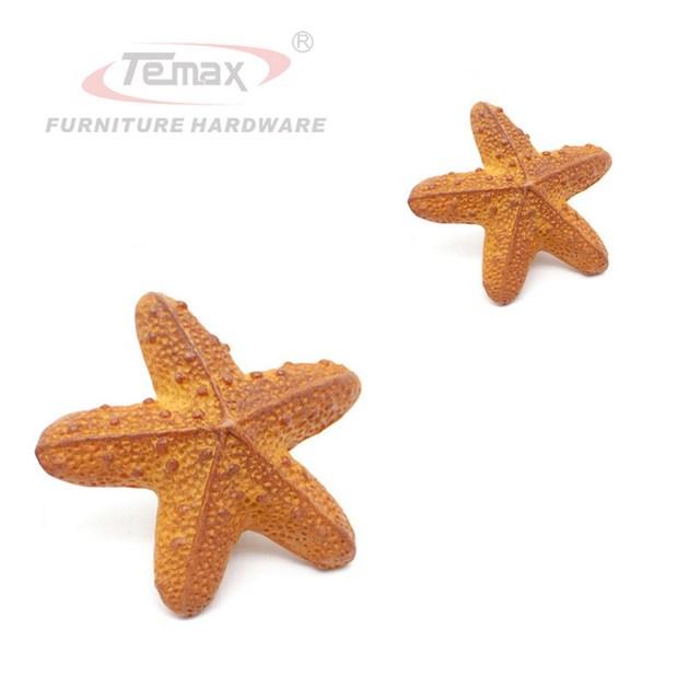 Orange Starfish Kids Drawer Pull Knobs Cabinet Handles Children Door Knob Bedroom Lovely