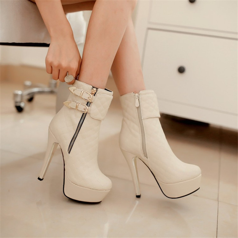 New Autumn Thin Heel Women Fashion Boots Solid Plaid Pu Ankle Boots Sexy Buckle Platform Short Boots Zipper Nightclub Wear Shoes