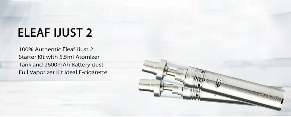 ถูก เดิมEleaf iJust 2ชุดเริ่มต้น2600มิลลิแอมป์ชั่วโมงแบตเตอรี่5.5มิลลิลิตรเครื่องฉีดน้ำบุหรี่อิเล็กทรอนิกส์ปรับการไหลของอากาศijust 2 E-Cig Vapeปากกา