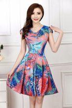 Винтажное летнее женское платье большого размера с V-образным вырезом и цветочным принтом(China)