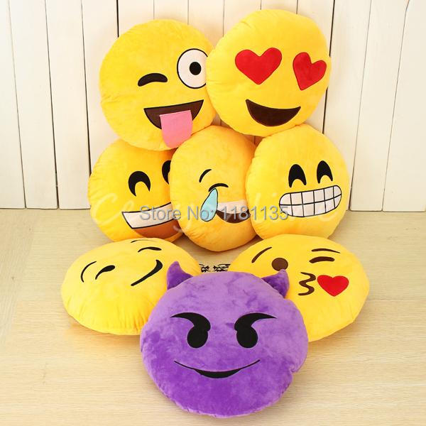 13 Styles Soft Emoji Smiley Emoticon Yellow Round Cushion Pillow Stuffed Plush Toy Doll Christmas Present Free Shipping(China (Mainland))