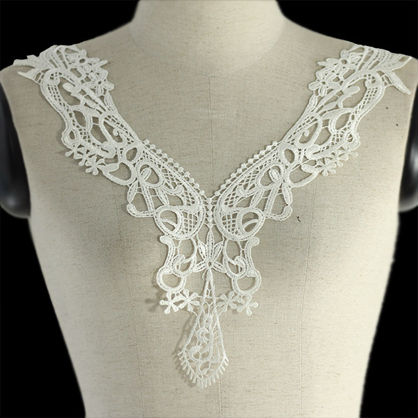 Off White Embroidered Lace Neckline Collar Trim Embellishment Applique Fabric Patch Trimming Sewing Supplies Costume 20pc/T1057(China (Mainland))