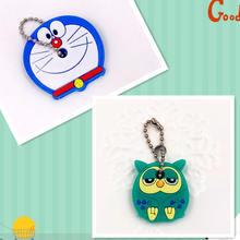 2 pçs/set Anime Urso Dos Desenhos Animados Melody Mickey Minnie chaveiro tampa chave tampa de Silicone mulheres olá kitty Totoro monstro carro keychain(China)