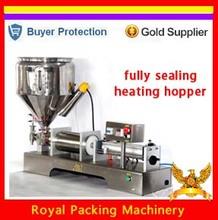 safe heating chocolate honey cream hot juice sauce jam filler paste filling machine,pneumatic piston filler with heating hopper(China (Mainland))