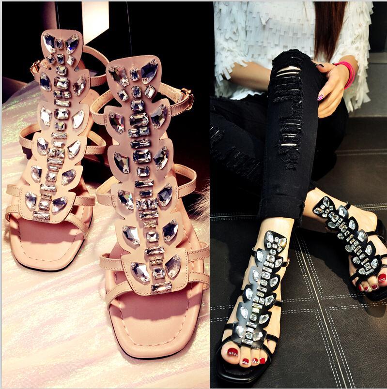 ENMAYER New Women Sandals Bohemia Sandals Comfortable Flats Sandals Wedding Summer Shoes Gladiator Rhinestone Platform Sandals