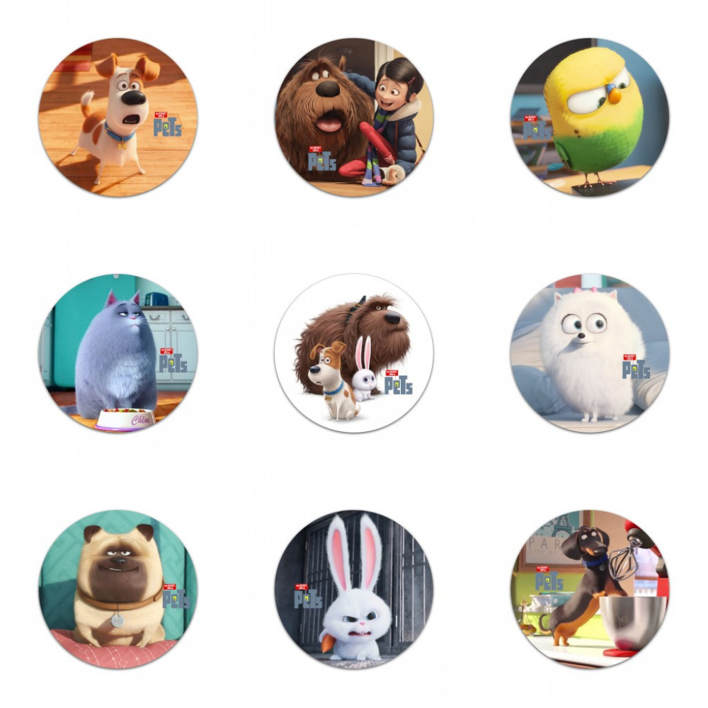 18pcs The secret life of pets Buttons Pins Badges Round Badges fashion,Bags & Clothes Decoration kid's Birth party gift