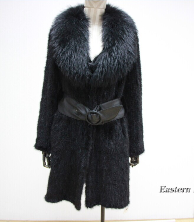 100% Real Knitted Mink Fur Long Knit Coat Outwear Jacket with big fox collar Fashion Gift Women Winter Warm Mink Fur(China (Mainland))