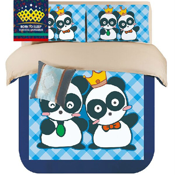 Cute Panda Design Blue Printed Bed Linen/Bed Cover/Bed Sheet/Pillowcase/King Queen Twin Bedding Sets Bedclothes(China (Mainland))