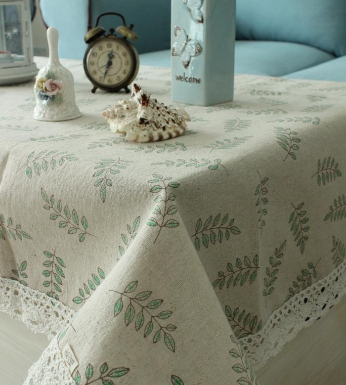 hot sale lace printed tablecloth with leaves linen cotton table cloth of ZAKKA 40X40CM/60X60CM/90X90CM/110X140CM(China (Mainland))