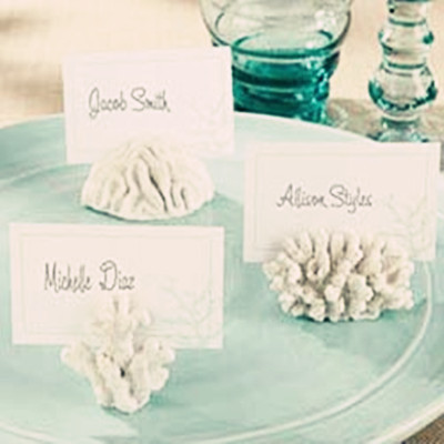 Wholse sale 6pcs/lot Seas Coral Beach Theme Place Card Holders Wedding Favors(China (Mainland))