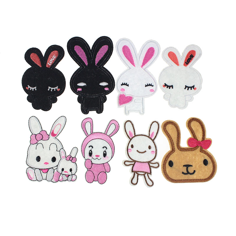 Mixed White Rabbit Iron On Patches For Clothing DIY Applique Cartoon Embroidery Patches For Clothing Sewing Shirt Stickers(China (Mainland))