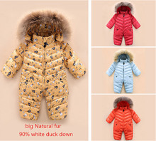 High quality ! 2016 New brand winter outerwear baby rompers duck down coat for newborn snowsuit infant costume , big nature fur(China (Mainland))