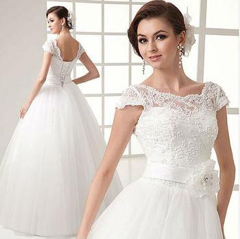 A линия русиа без рукавов подметание поезд белый атлас свадебные свадьба платье свадьба ...