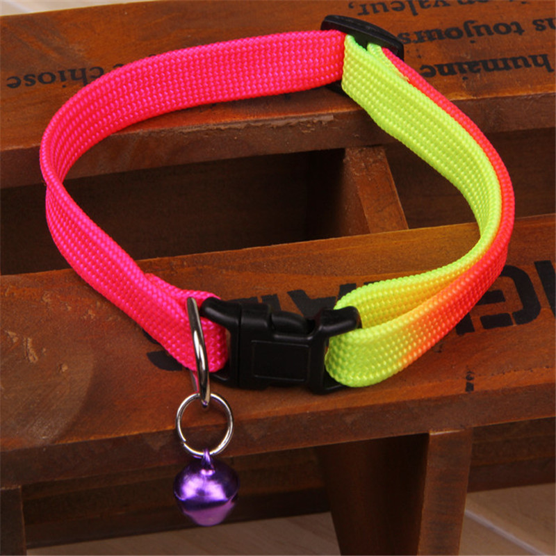 1PCS Rainbow Color Pet Collar with Bell 1cm Width Adjustable 24-34cm Length for Small Dogs(China (Mainland))