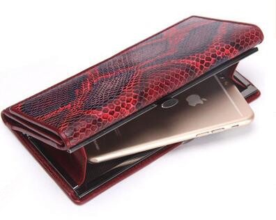 2017 Genuine Leather Ladies Purse Women Trifold Genuine Leather Snakeskin Card Coin Purse Phone Long Wallet(China (Mainland))