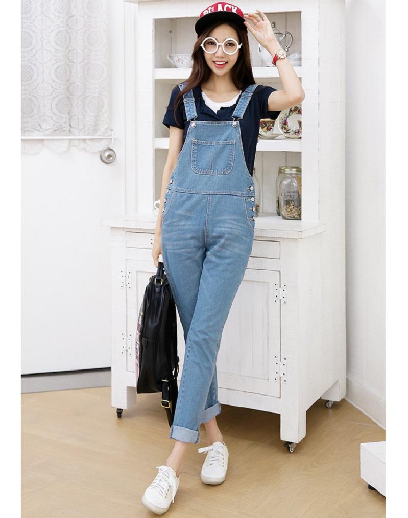 Women spring and autumn denim bib jeans loose jumpsuit denim trousers 4colors, XXL, XXXL 8739(China (Mainland))