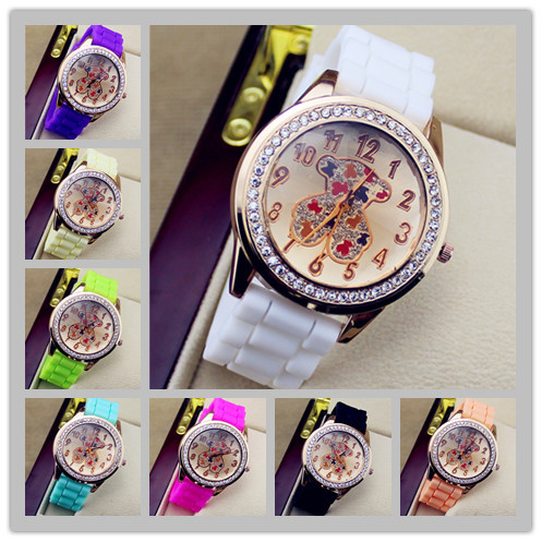 HOT!To us Teddy Owl & Bear Cartoon Jelly Watch Ladies Silicone Women Rhinestone Dress Quartz Watches Casual Hand Clock TJ6 - Qomolangma International Co.,Ltd store