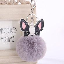Anel chave Bola de Pêlo de Coelho Fofo Francês Bulldog Chaveiros chaveiro Pompom Saco Titular Chaveiro de Couro Artificial Animal Cão(China)