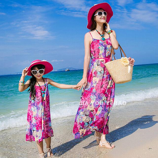 Новинка семья установить одежду для матери и дочери чешского цветок печать рукавов ...