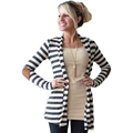 FancyQube Autumn Cardigan Women Elbow Patch Long Sleeve Shawl Collar Striped Open Front Cardigans Sweater Knitted