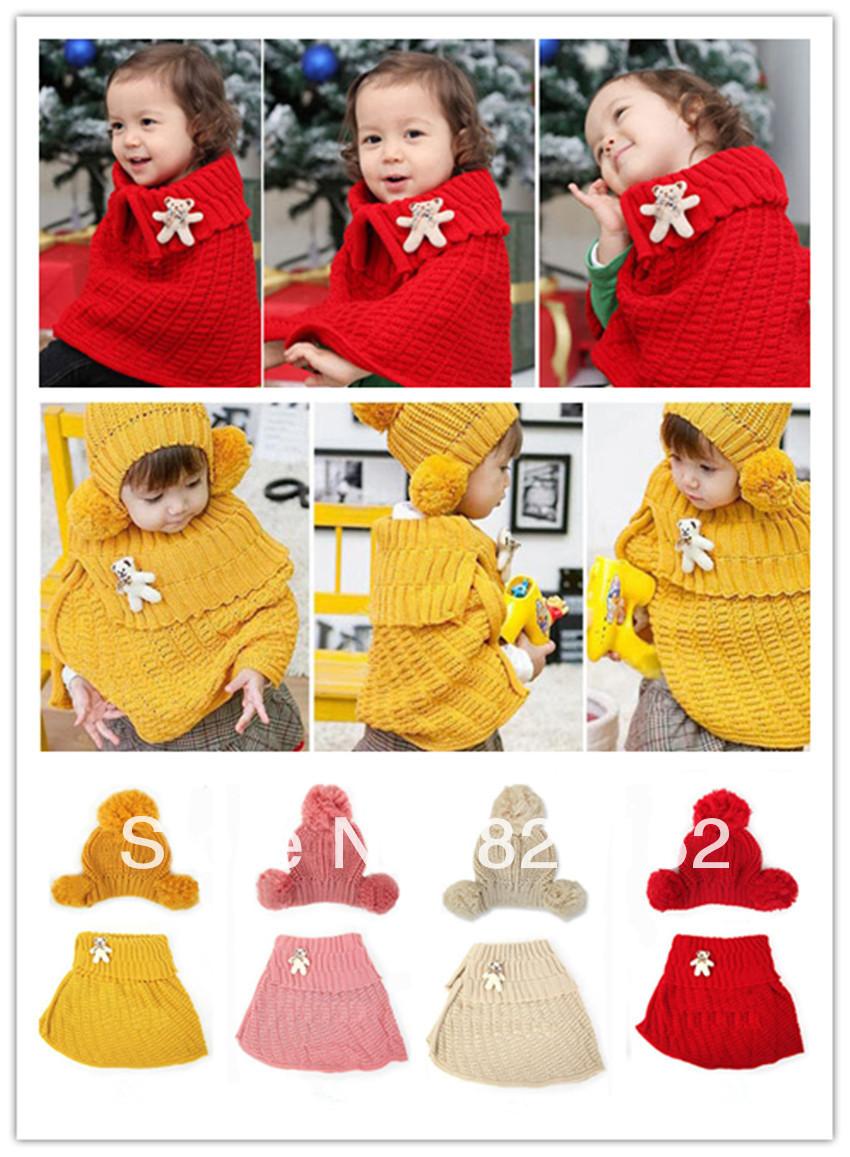 2pcs Baby Kid Girl Bear Knit Crochet Winter Warm Hairball Hat & Cloak Caps Cape Shawl Wraps Free shipping(China (Mainland))