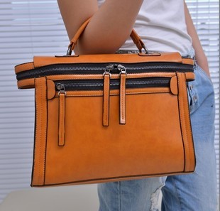 2013 fashion double zipper women's handbag wax vintage handbag one shoulder small bag motorcycle