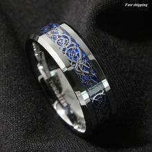 8 мм Серебрение Дракон Tungsten Карбида Кольцо Мужские Ювелирные Изделия Обручальное кольцо Бесплатная Доставка(China (Mainland))