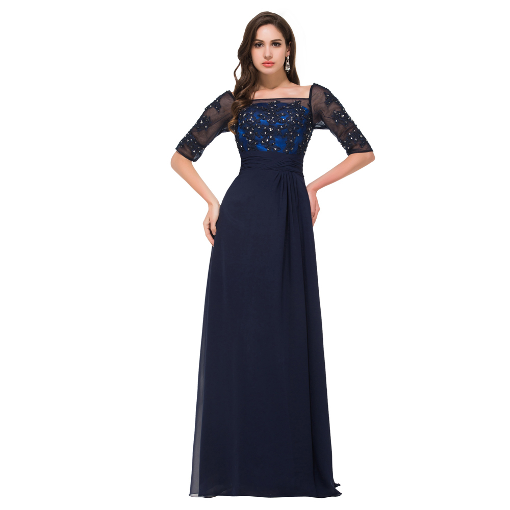 New arrivals 2015 elegant long evening dress half sleeve for Night dresses for wedding night
