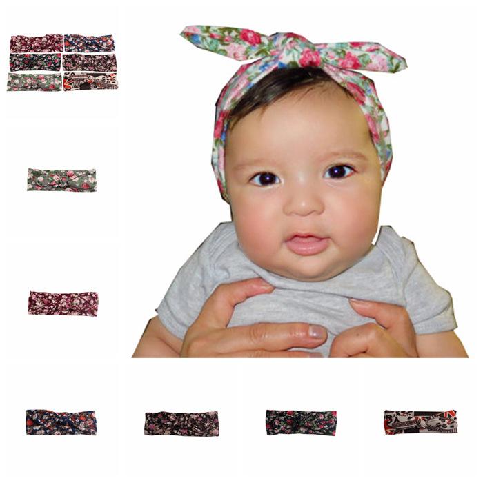 2016 baby newborn infant rabbit ears floral headbands stretch printing ribbon knot headwrap children elastic turban headband(China (Mainland))
