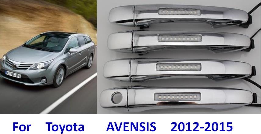 с LED Ширина света снаружи автомобиля дверные ручки 2012-2015 автомобиля Тойота Avensis ручка обновления модификации