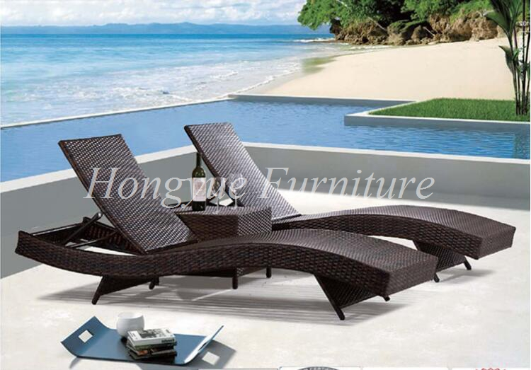 Outdoor rattan lounge chairs 2+1 with corner table set ...