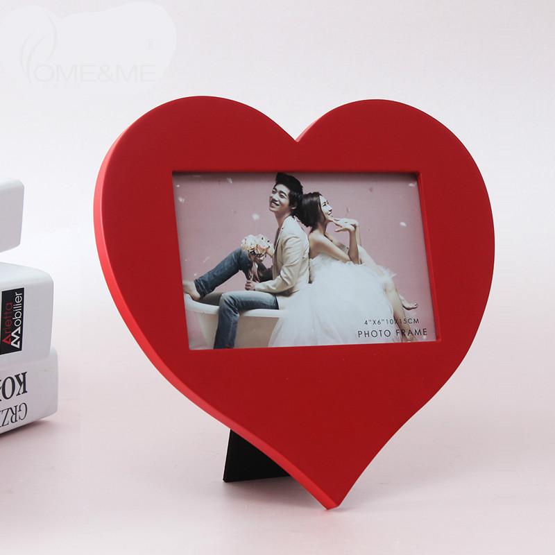 Korean Red 6 Inch Photo Frame Wooden Swing Sets Minimalist Modern Minimalist Combination Of Creative Love Couple Photo Frame(China (Mainland))