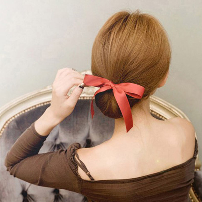 All-Purpose Style Silk Bowknot Hair Disk Women Bangs Hairstyle Fashioning Ribbons Styling Tools 5 Colors Available.Free Shipping(China (Mainland))