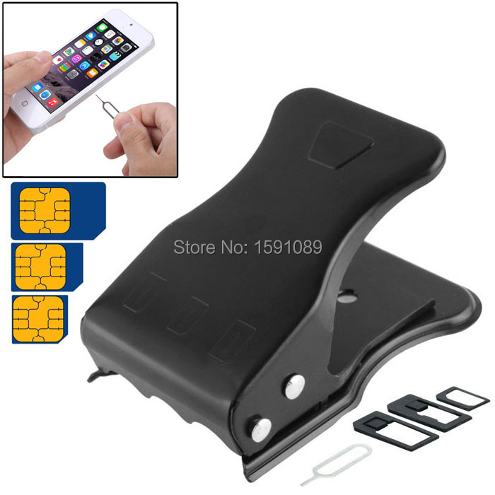 Mini Universal All in One Nano SIM Card & Micro SIM Card Cutter with SIM Card Pin for iPhone 5 5S 5C 4S 4 Black, Free Shipping(China (Mainland))