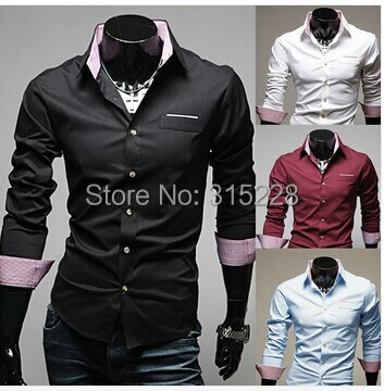 Spring & Autumn Fashion Easy Care Casual Mens Dress Shirts Long sleeve Slim Fit Social Camisas Masculinas - goodluck999 store