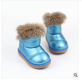 free shipping new winter 2013 real rabbit fur goose bottom color boots tube boots in children cotton shoes wholesale 21--30ma(China (Mainland))