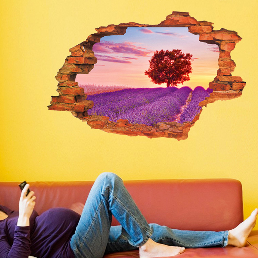 Creative home decor 3d wall stickers broken wall style for Home decor 90 off