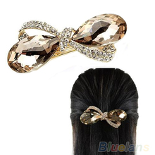 New Crystal Rhinestone Oval Bowknot Barrettes Hair accessories Clip Clamp Hairpin Headwear 032F(China (Mainland))
