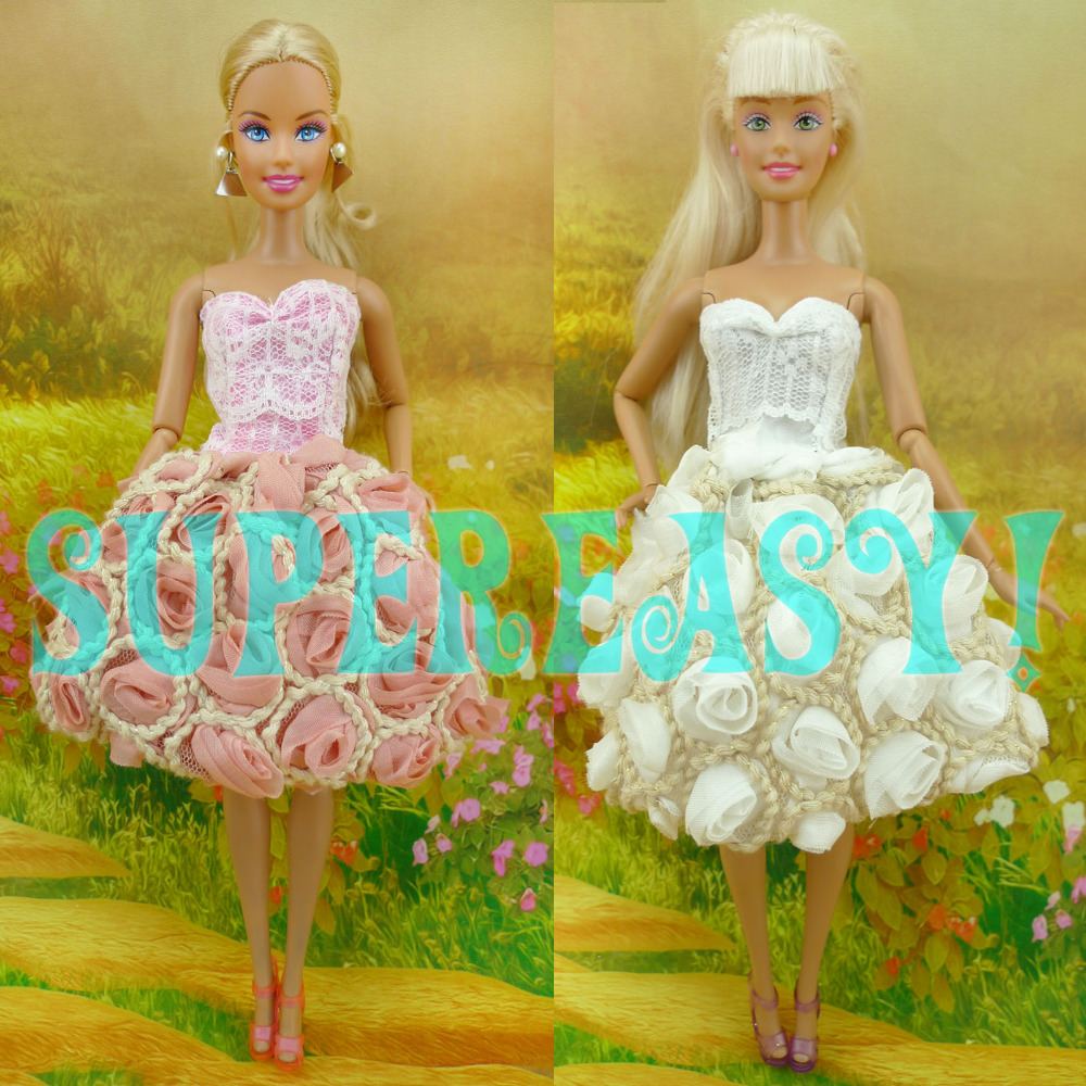 2x Strapless Mini Dress Summer Skirt Party Gown Princess Clothes With Flower For Barbie Doll Kurhn Gift Pink &amp; White Kids Love<br><br>Aliexpress