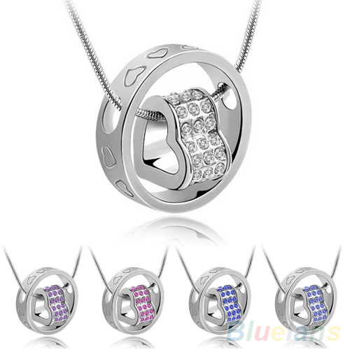 Women's Fashion Crystal Chain Rhinestone Gift Love Heart Pendant Necklace 1QAN(China (Mainland))