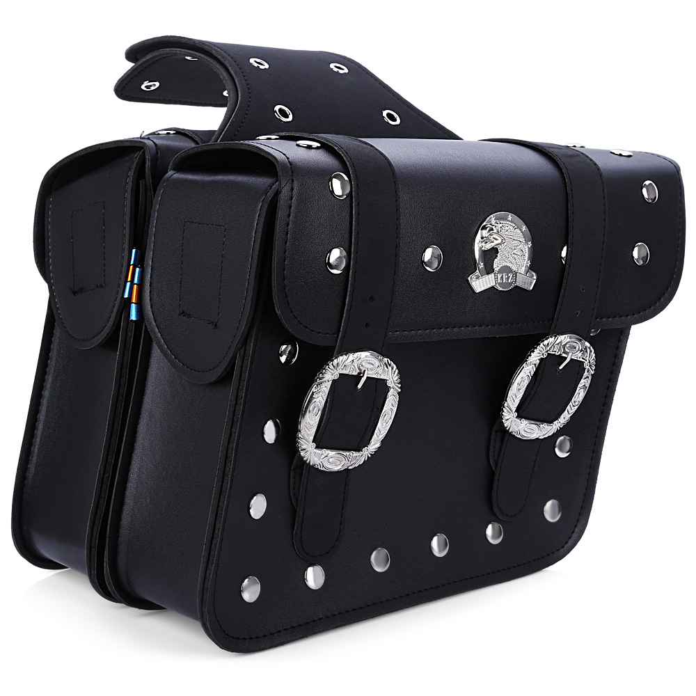 Paired Motorcycle PU Leather Saddlebag Saddle Tool Pouch Side Bag Harley Cruiser Storage Pouch High Capacity Left and Right(China (Mainland))