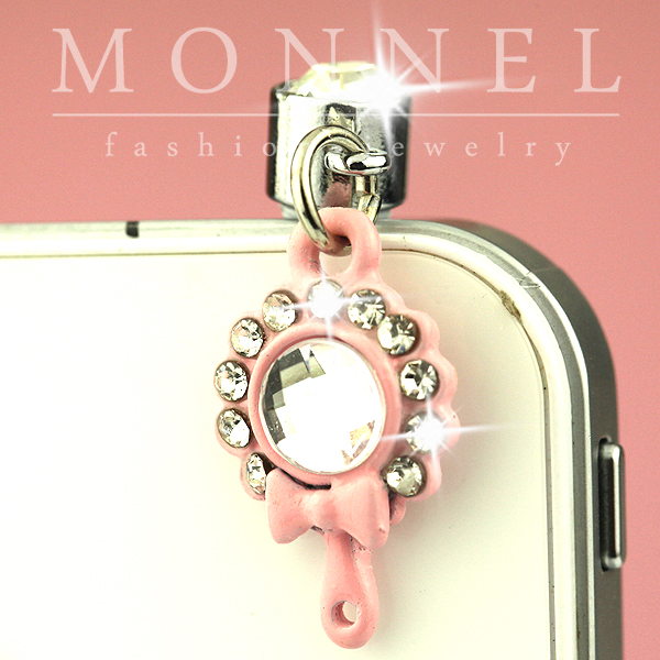 IP113 Adorable Pink Mirror Mobile Phone Anti Dust Plug Charm(China (Mainland))
