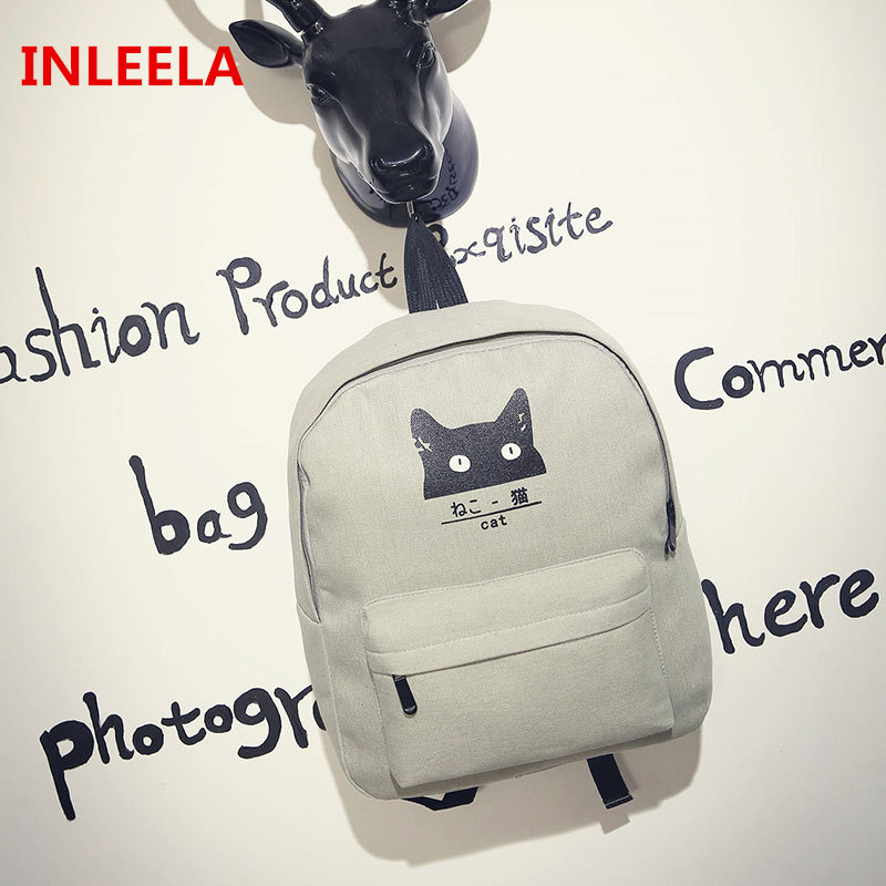 New Canvas Backpack Minimalist Cat Shoulder Bag Small Fashion Women Bag Preppy Style Backpack Lovely Animal School Bag<br><br>Aliexpress