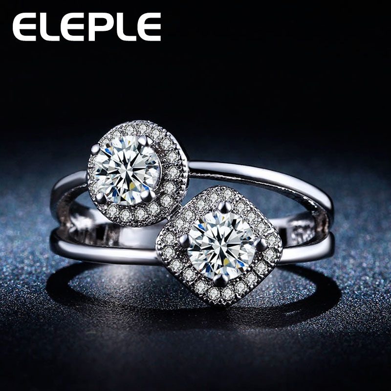 2016 wholesale rings White gold plated ring AAA Zircon cz diamond Double zircon Engagement jewelry Classic Round rings LSR239(China (Mainland))