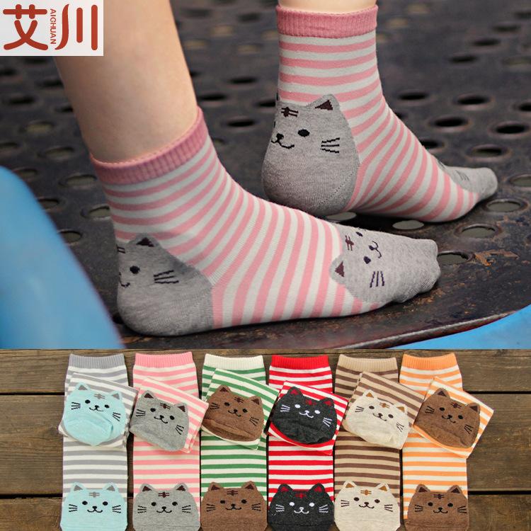 $10 free shipping spring otton cartoon kawaii cat stripe meias socks for girls women fun 3d art anime corap wholesale(China (Mainland))
