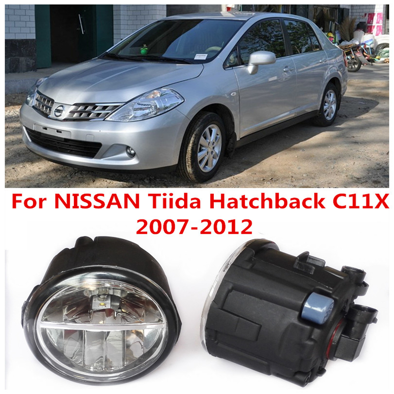 6000K 10W White High Brightness For NISSAN Tiida Hatchback C11X 2007-2012 Car Styling Front Bumper LED Fog Lights Lamps DRL(China (Mainland))