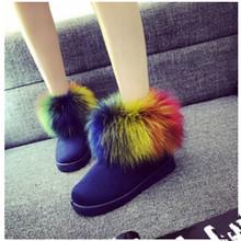 Imitación de piel de zorro mujeres de nieve 2015 nuevos calientes del invierno tobillo plana botas de cuero de la borla de zapatos de mujer 36-40 tamaño(China (Mainland))
